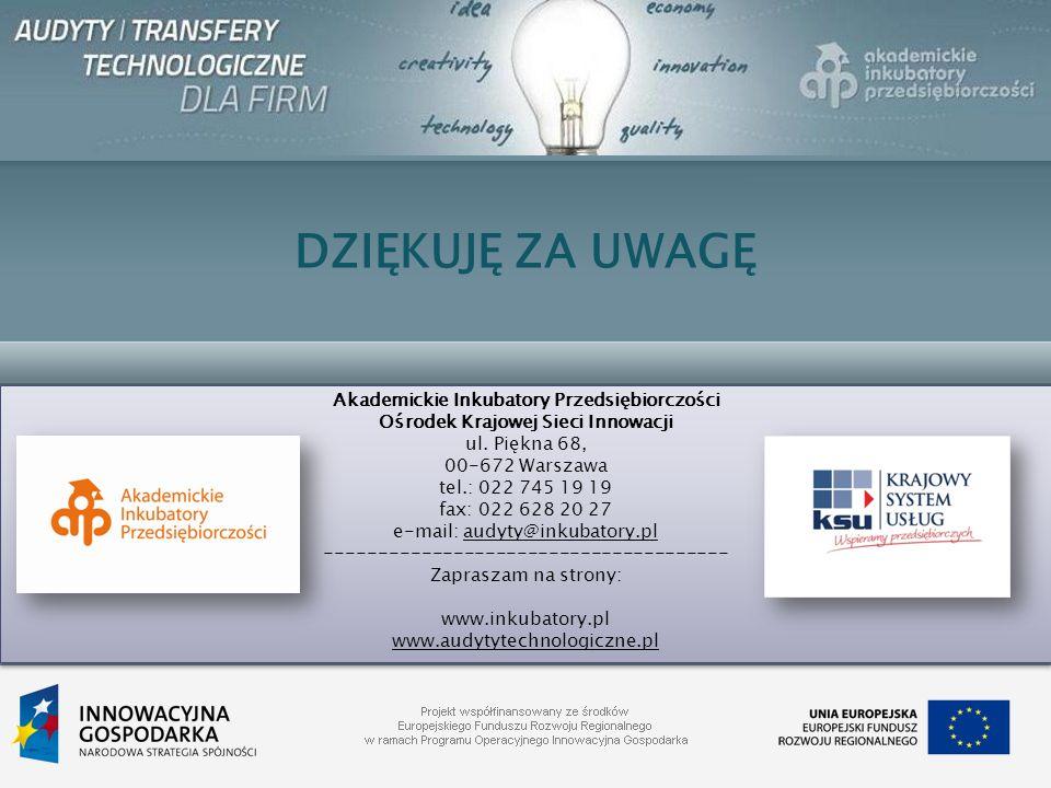 DZIĘKUJĘ ZA UWAGĘ Akademickie Inkubatory Przedsiębiorczości Ośrodek Krajowej Sieci Innowacji ul. Piękna 68, 00-672 Warszawa tel.: 022 745 19 19 fax: 0