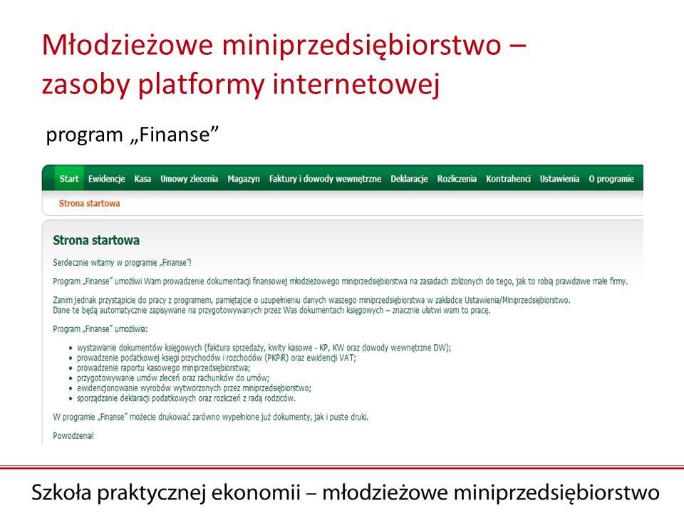 Młodzieżowe miniprzedsiębiorstwo – zasoby platformy internetowej program Finanse