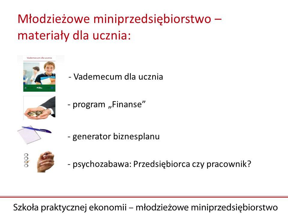 Młodzieżowe miniprzedsiębiorstwo – materiały dla ucznia: - Vademecum dla ucznia - program Finanse - generator biznesplanu - psychozabawa: Przedsiębior