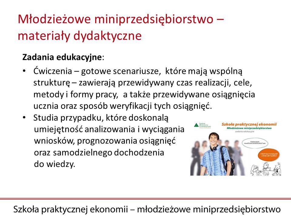 Młodzieżowe miniprzedsiębiorstwo – materiały dydaktyczne Zadania edukacyjne: Ćwiczenia – gotowe scenariusze, które mają wspólną strukturę – zawierają
