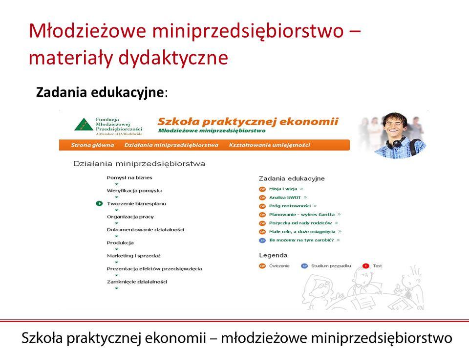 Młodzieżowe miniprzedsiębiorstwo – materiały dydaktyczne Zadania edukacyjne: