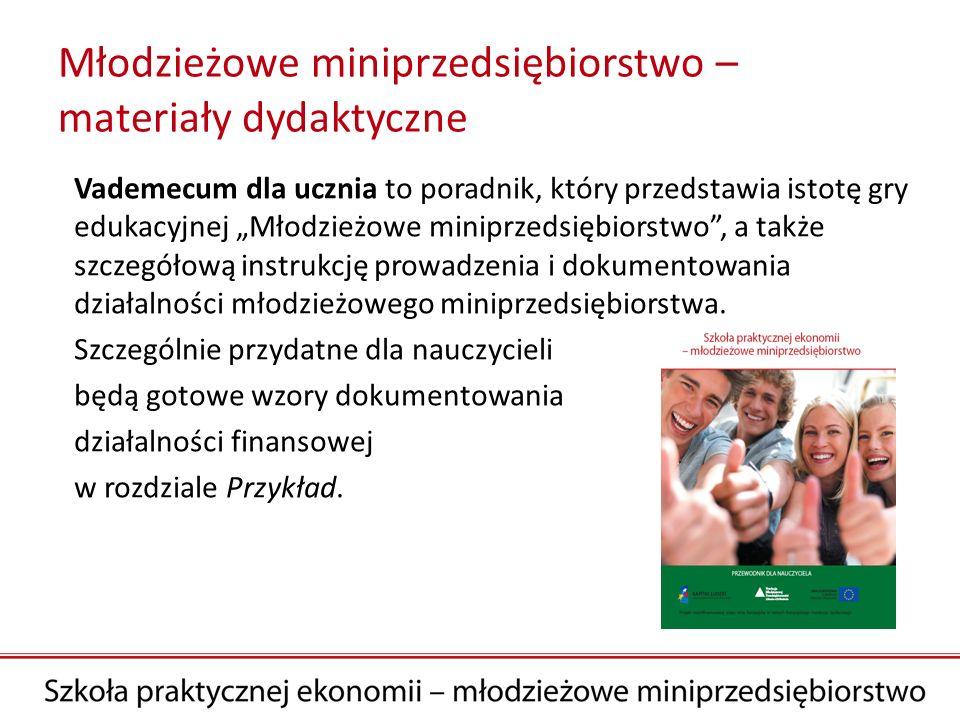 Młodzieżowe miniprzedsiębiorstwo – materiały dydaktyczne Vademecum dla ucznia to poradnik, który przedstawia istotę gry edukacyjnej Młodzieżowe minipr