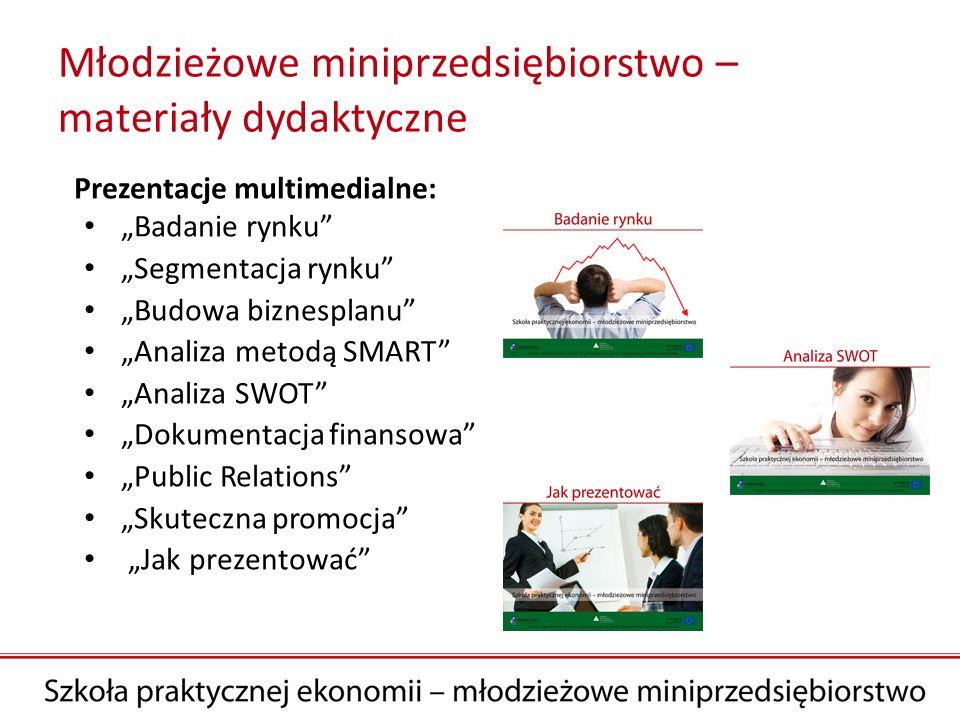 Młodzieżowe miniprzedsiębiorstwo – materiały dydaktyczne Prezentacje multimedialne: Badanie rynku Segmentacja rynku Budowa biznesplanu Analiza metodą