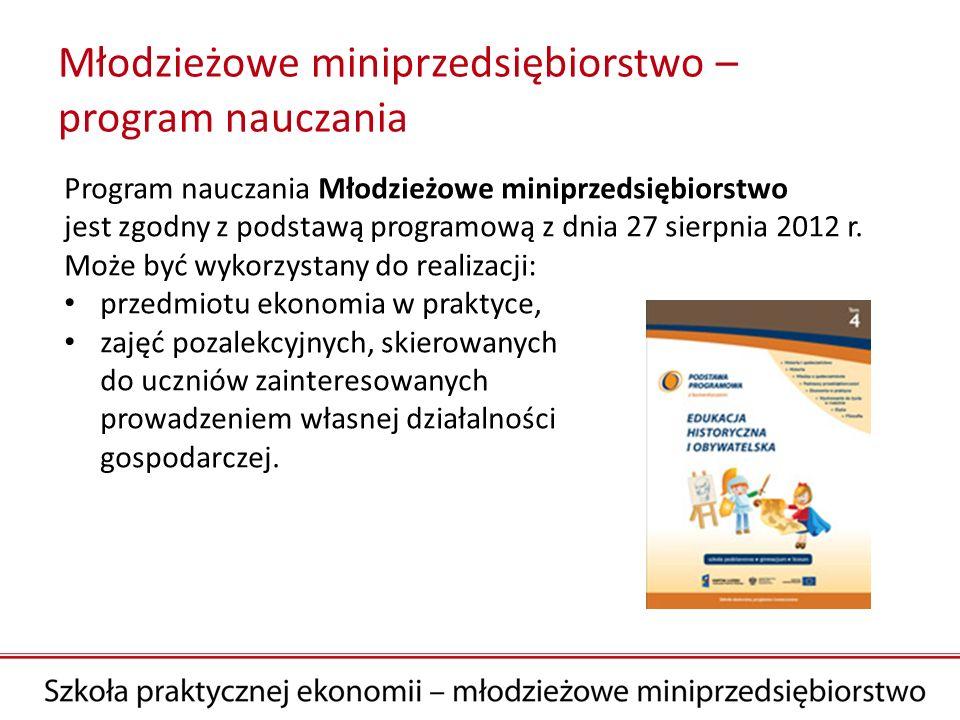 Młodzieżowe miniprzedsiębiorstwo – program nauczania Program nauczania Młodzieżowe miniprzedsiębiorstwo jest zgodny z podstawą programową z dnia 27 si