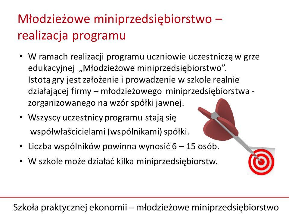 Młodzieżowe miniprzedsiębiorstwo – realizacja programu W ramach realizacji programu uczniowie uczestniczą w grze edukacyjnej Młodzieżowe miniprzedsięb