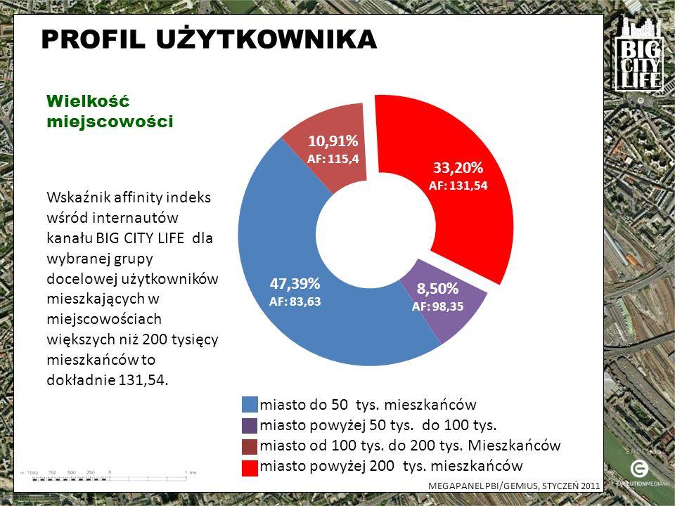 PROFIL UŻYTKOWNIKA Płeć Wiek MEGAPANEL PBI/GEMIUS, STYCZEŃ 2011