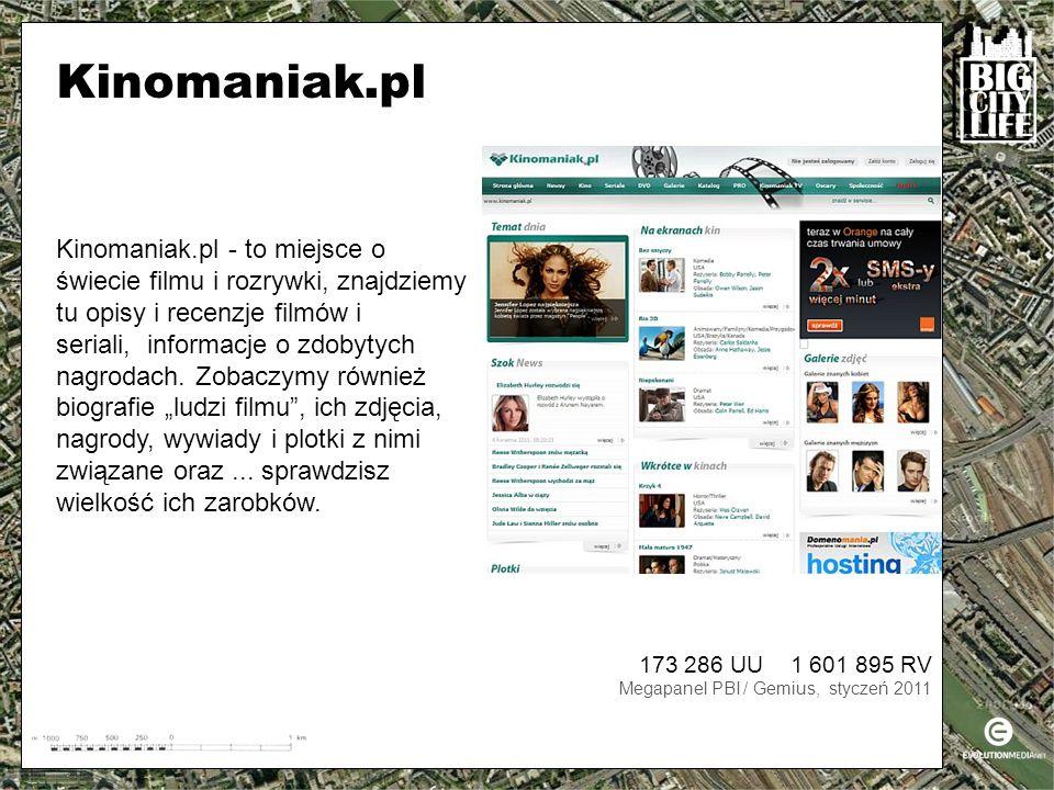 173 286 UU 1 601 895 RV Megapanel PBI / Gemius, styczeń 2011 Kinomaniak.pl - to miejsce o świecie filmu i rozrywki, znajdziemy tu opisy i recenzje filmów i seriali, informacje o zdobytych nagrodach.