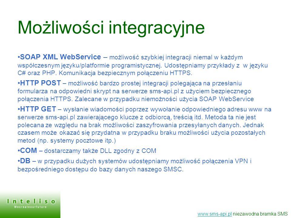 Możliwości integracyjne SOAP XML WebService – możliwość szybkiej integracji niemal w każdym współczesnym języku/platformie programistycznej. Udostępni