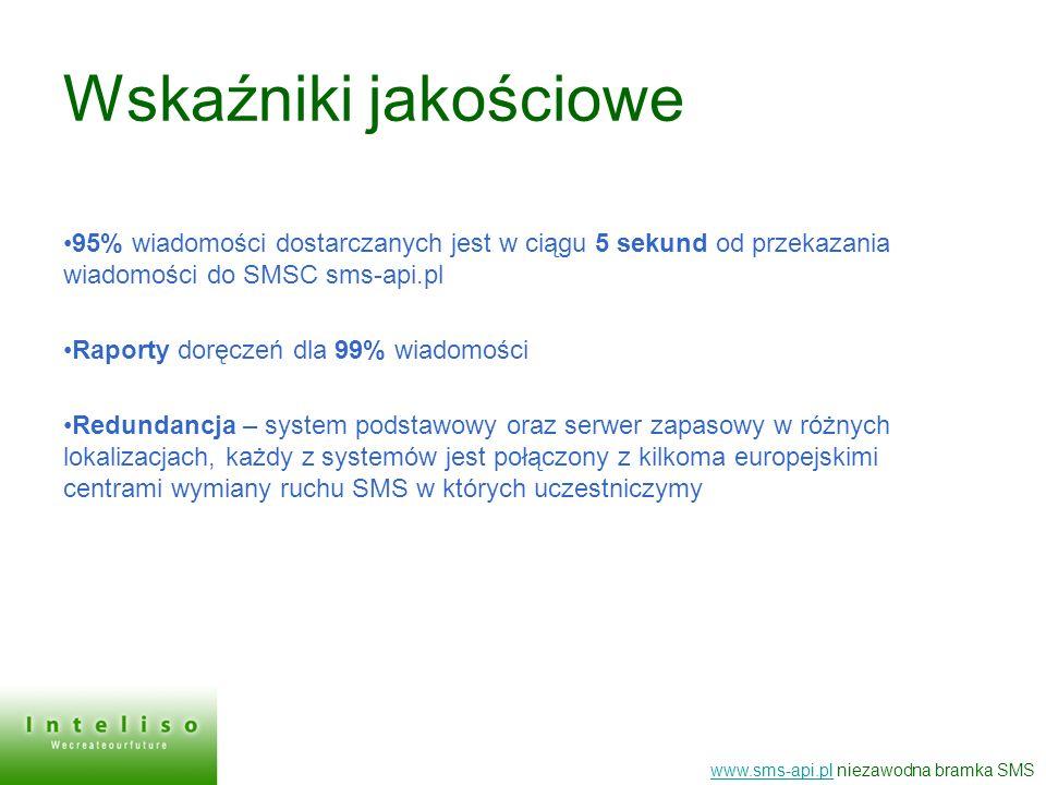 Wskaźniki jakościowe 95% wiadomości dostarczanych jest w ciągu 5 sekund od przekazania wiadomości do SMSC sms-api.pl Raporty doręczeń dla 99% wiadomoś