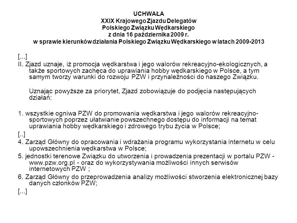 UCHWAŁA XXIX Krajowego Zjazdu Delegatów Polskiego Związku Wędkarskiego z dnia 16 października 2009 r.