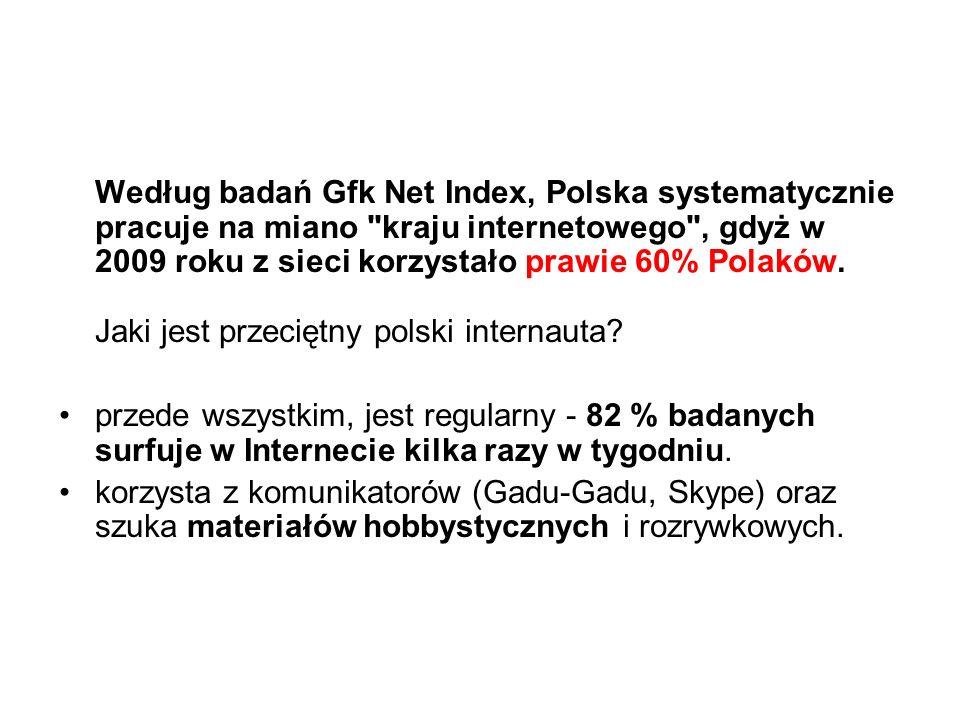 Według badań Gfk Net Index, Polska systematycznie pracuje na miano kraju internetowego , gdyż w 2009 roku z sieci korzystało prawie 60% Polaków.
