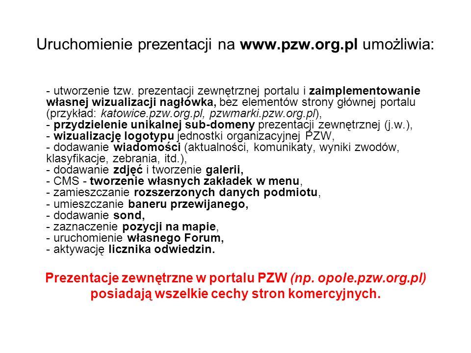 Uruchomienie prezentacji na www.pzw.org.pl umożliwia: - utworzenie tzw.