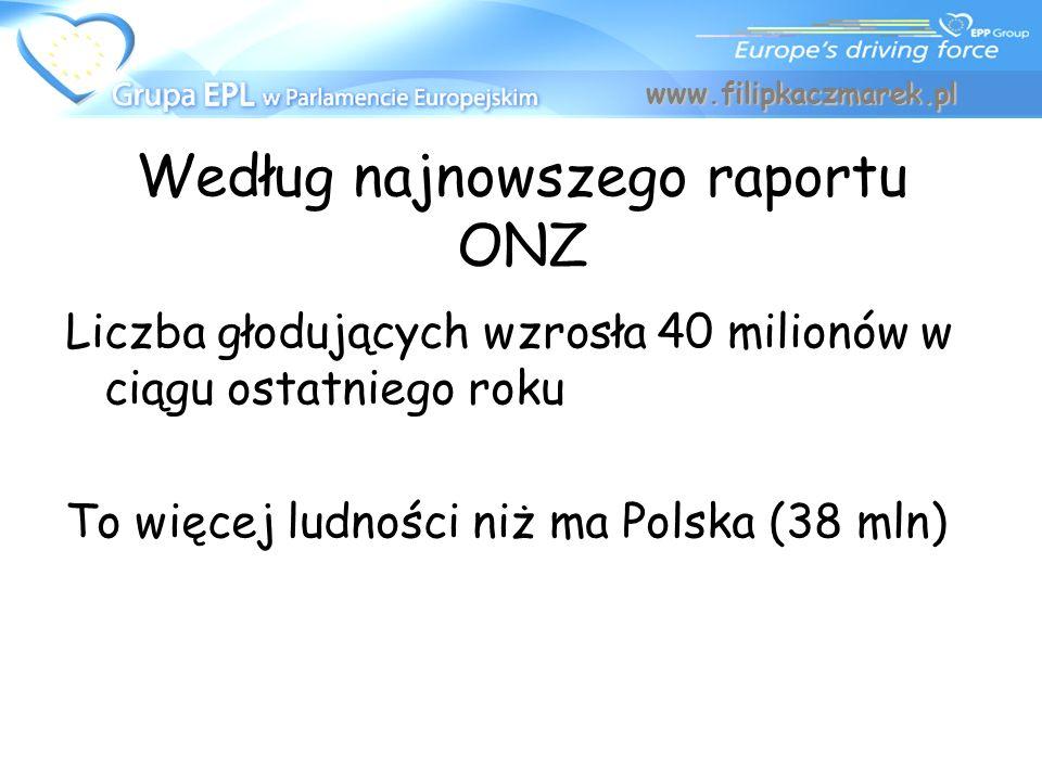 Według najnowszego raportu ONZ Liczba głodujących wzrosła 40 milionów w ciągu ostatniego roku To więcej ludności niż ma Polska (38 mln) www.filipkaczm