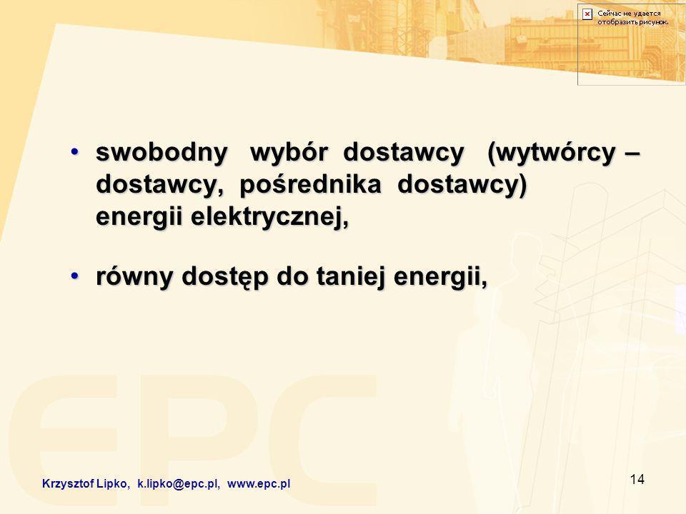 14 swobodny wybór dostawcy (wytwórcy – dostawcy, pośrednika dostawcy) energii elektrycznej,swobodny wybór dostawcy (wytwórcy – dostawcy, pośrednika dostawcy) energii elektrycznej, równy dostęp do taniej energii,równy dostęp do taniej energii, Krzysztof Lipko, k.lipko@epc.pl, www.epc.pl