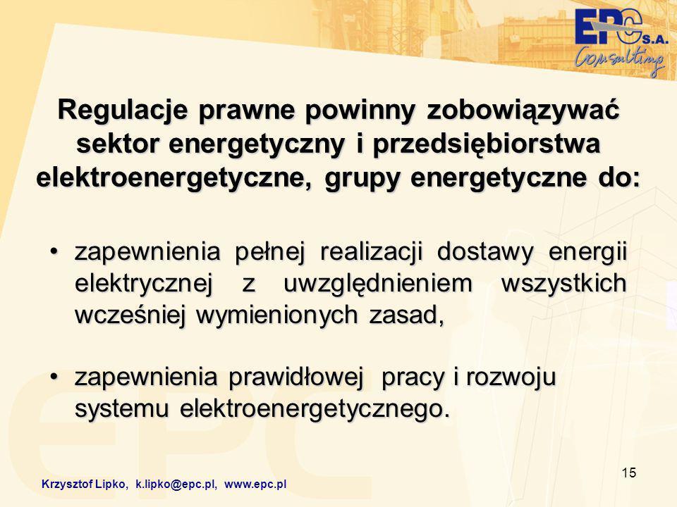 15 Regulacje prawne powinny zobowiązywać sektor energetyczny i przedsiębiorstwa elektroenergetyczne, grupy energetyczne do: zapewnienia pełnej realizacji dostawy energii elektrycznej z uwzględnieniem wszystkich wcześniej wymienionych zasad,zapewnienia pełnej realizacji dostawy energii elektrycznej z uwzględnieniem wszystkich wcześniej wymienionych zasad, zapewnienia prawidłowej pracy i rozwoju systemu elektroenergetycznego.zapewnienia prawidłowej pracy i rozwoju systemu elektroenergetycznego.