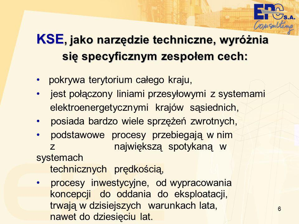 6 KSE, jako narzędzie techniczne, wyróżnia się specyficznym zespołem cech: się specyficznym zespołem cech: pokrywa terytorium całego kraju, jest połączony liniami przesyłowymi z systemami elektroenergetycznymi krajów sąsiednich, posiada bardzo wiele sprzężeń zwrotnych, podstawowe procesy przebiegają w nim z największą spotykaną w systemach technicznych prędkością, procesy inwestycyjne, od wypracowania koncepcji do oddania do eksploatacji, trwają w dzisiejszych warunkach lata, nawet do dziesięciu lat.
