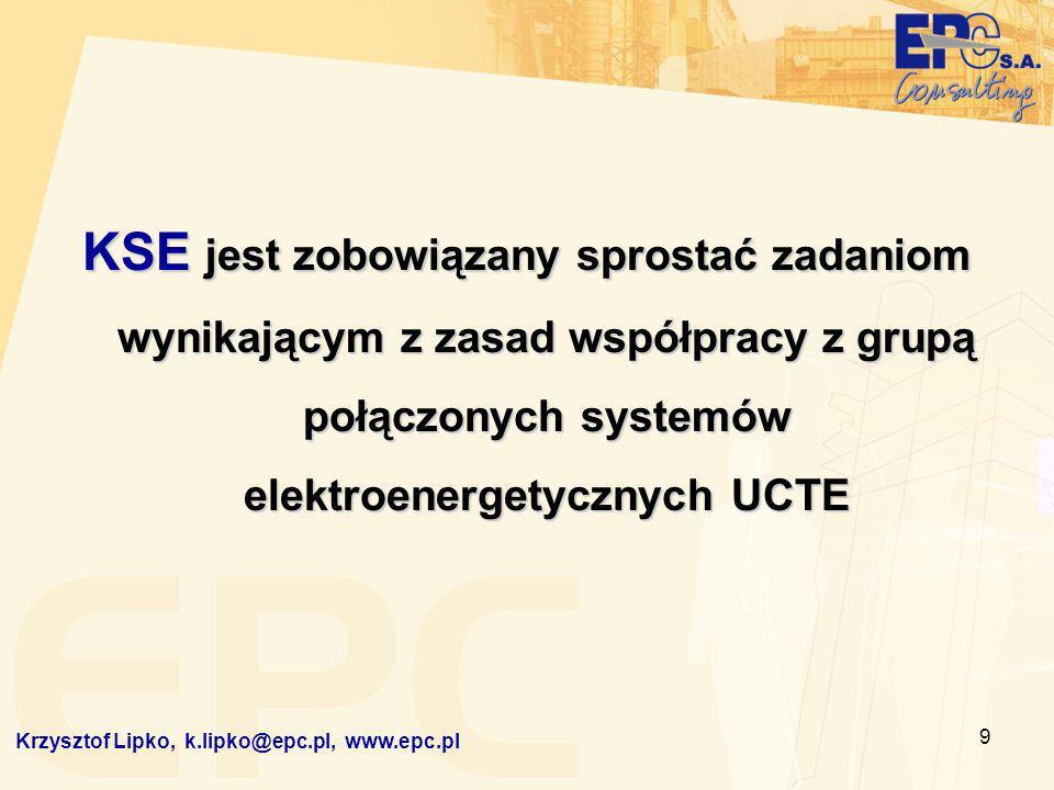 9 KSE jest zobowiązany sprostać zadaniom wynikającym z zasad współpracy z grupą połączonych systemów elektroenergetycznych UCTE Krzysztof Lipko, k.lip