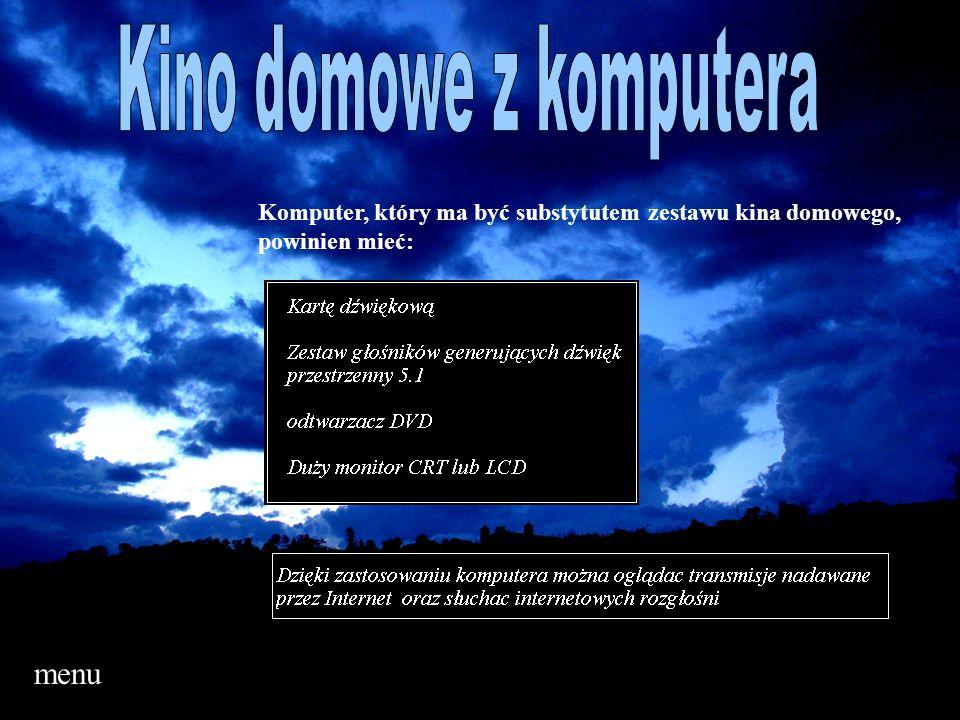 menu Komputer, który ma być substytutem zestawu kina domowego, powinien mieć:
