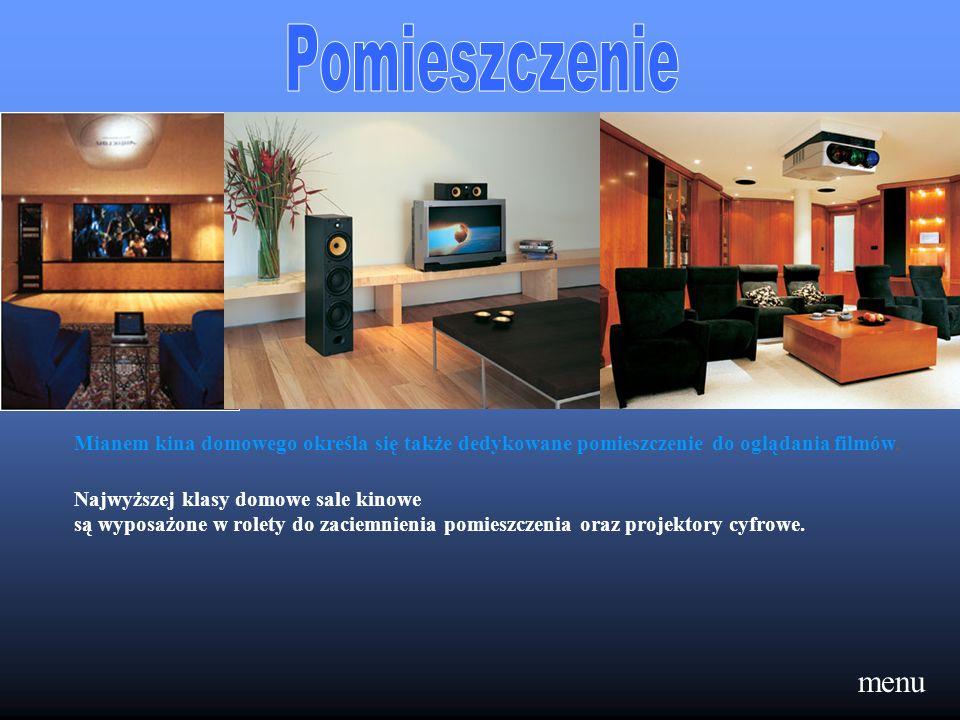 menu Mianem kina domowego określa się także dedykowane pomieszczenie do oglądania filmów, Najwyższej klasy domowe sale kinowe są wyposażone w rolety d