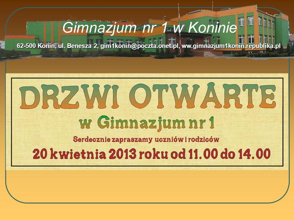 Gimnazjum nr 1 w Koninie 62-500 Konin, ul. Benesza 2, gim1konin@poczta.onet.pl, ww.gimnazjum1konin.republika.pl