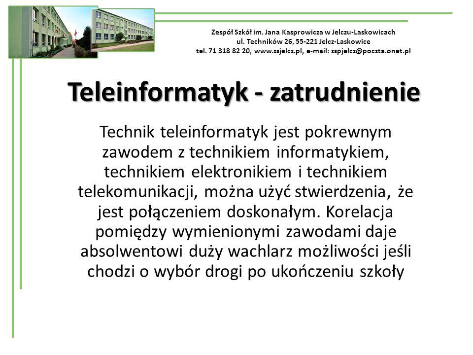 Zespół Szkół im. Jana Kasprowicza w Jelczu-Laskowicach ul. Techników 26, 55-221 Jelcz-Laskowice tel. 71 318 82 20, www.zsjelcz.pl, e-mail: zspjelcz@po