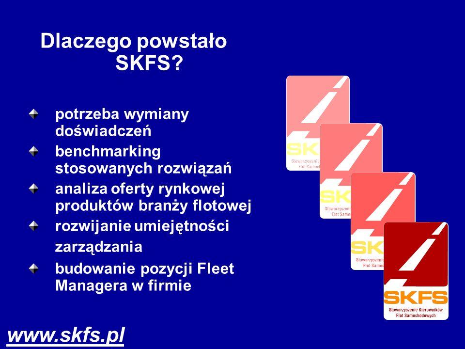 Dlaczego powstało SKFS? potrzeba wymiany doświadczeń benchmarking stosowanych rozwiązań analiza oferty rynkowej produktów branży flotowej rozwijanie u