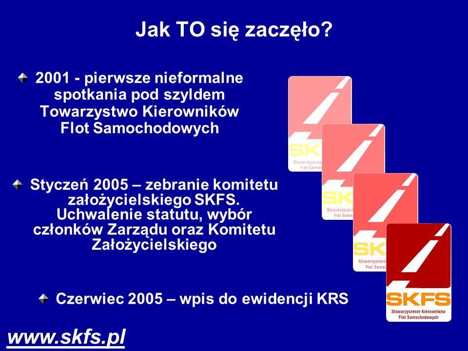 www.skfs.pl Jak TO się zaczęło? 2001 - pierwsze nieformalne spotkania pod szyldem Towarzystwo Kierowników Flot Samochodowych Styczeń 2005 – zebranie k
