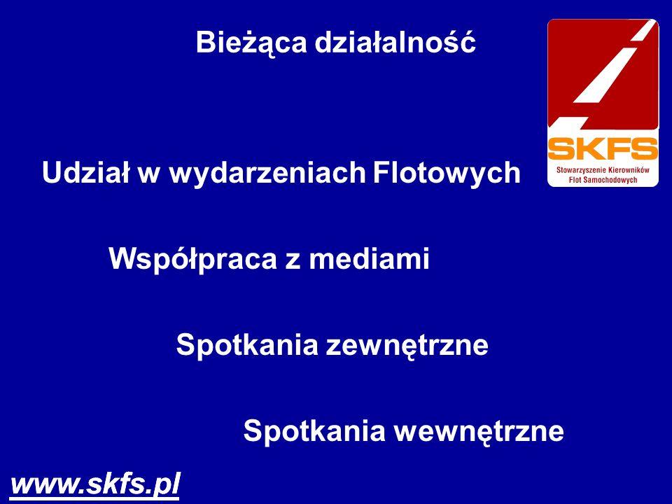 www.skfs.pl Bieżąca działalność Udział w wydarzeniach Flotowych Współpraca z mediami Spotkania zewnętrzne Spotkania wewnętrzne www.skfs.pl