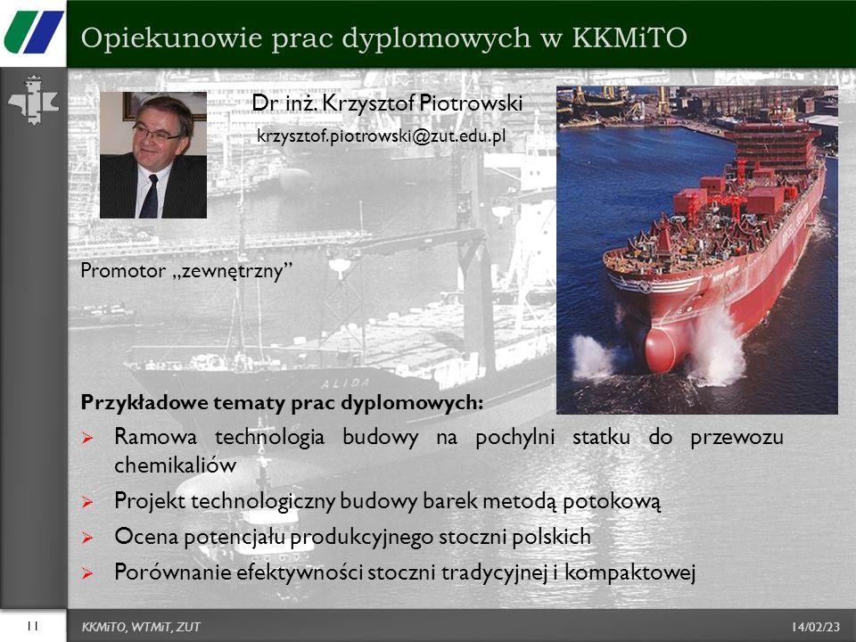 14/02/23 Dr inż. Krzysztof Piotrowski krzysztof.piotrowski@zut.edu.pl Promotor zewnętrzny Przykładowe tematy prac dyplomowych: Ramowa technologia budo