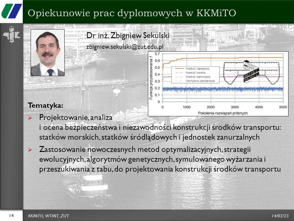 14/02/23 Dr inż. Zbigniew Sekulski zbigniew.sekulski@zut.edu.pl Tematyka: Projektowanie, analiza i ocena bezpieczeństwa i niezawodności konstrukcji śr