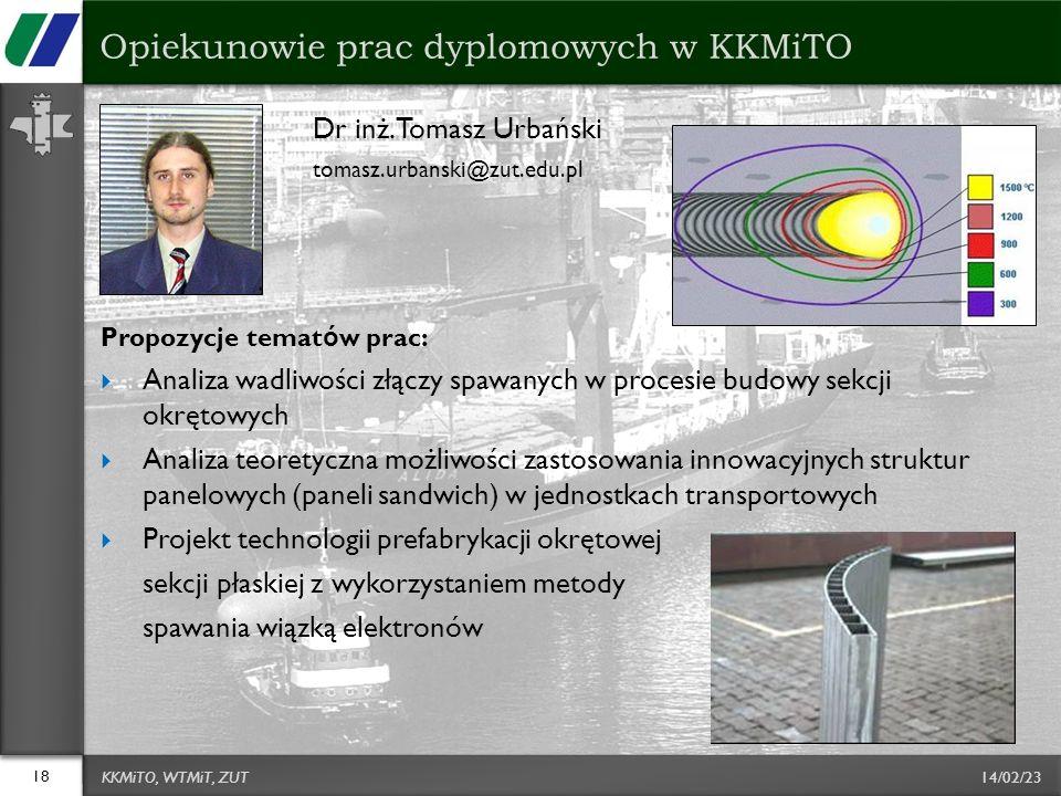 14/02/23 Dr inż. Tomasz Urbański tomasz.urbanski@zut.edu.pl Propozycje temat ó w prac: Analiza wadliwości złączy spawanych w procesie budowy sekcji ok