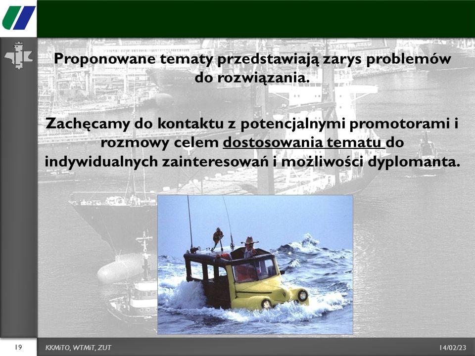 14/02/23 Proponowane tematy przedstawiają zarys problemów do rozwiązania. Zachęcamy do kontaktu z potencjalnymi promotorami i rozmowy celem dostosowan