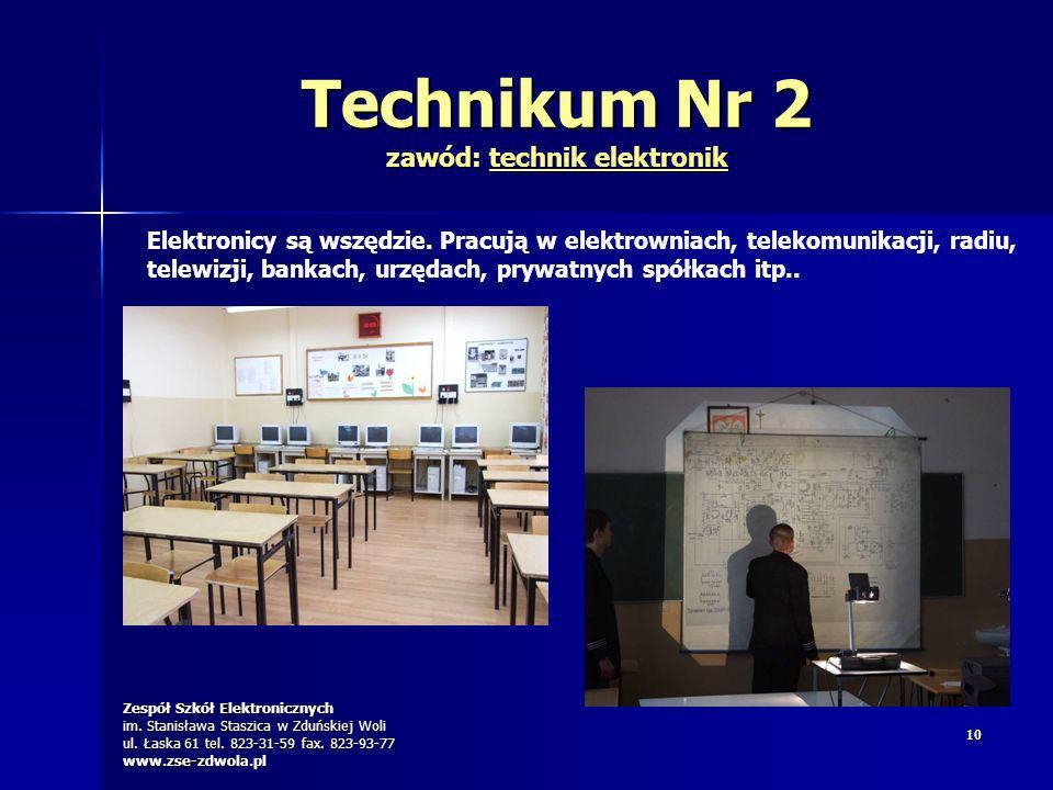 Zespół Szkół Elektronicznych im. Stanisława Staszica w Zduńskiej Woli ul. Łaska 61 tel. 823-31-59 fax. 823-93-77 www.zse-zdwola.pl 1010 Technikum Nr 2