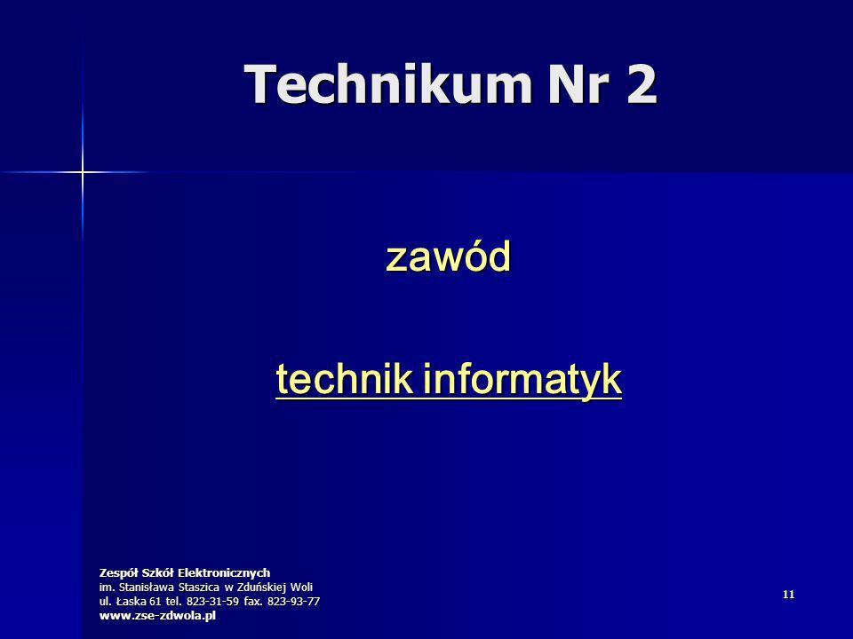 Zespół Szkół Elektronicznych im. Stanisława Staszica w Zduńskiej Woli ul. Łaska 61 tel. 823-31-59 fax. 823-93-77 www.zse-zdwola.pl 1111 zawód technik
