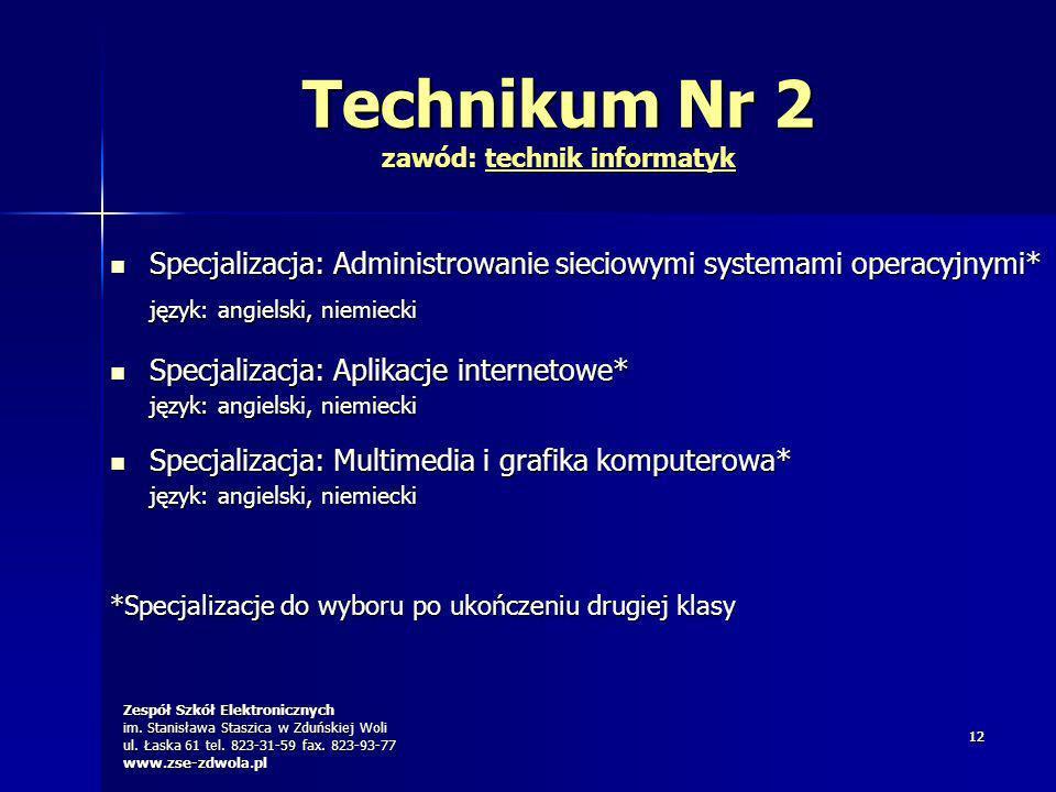 Zespół Szkół Elektronicznych im. Stanisława Staszica w Zduńskiej Woli ul. Łaska 61 tel. 823-31-59 fax. 823-93-77 www.zse-zdwola.pl 1212 Technikum Nr 2
