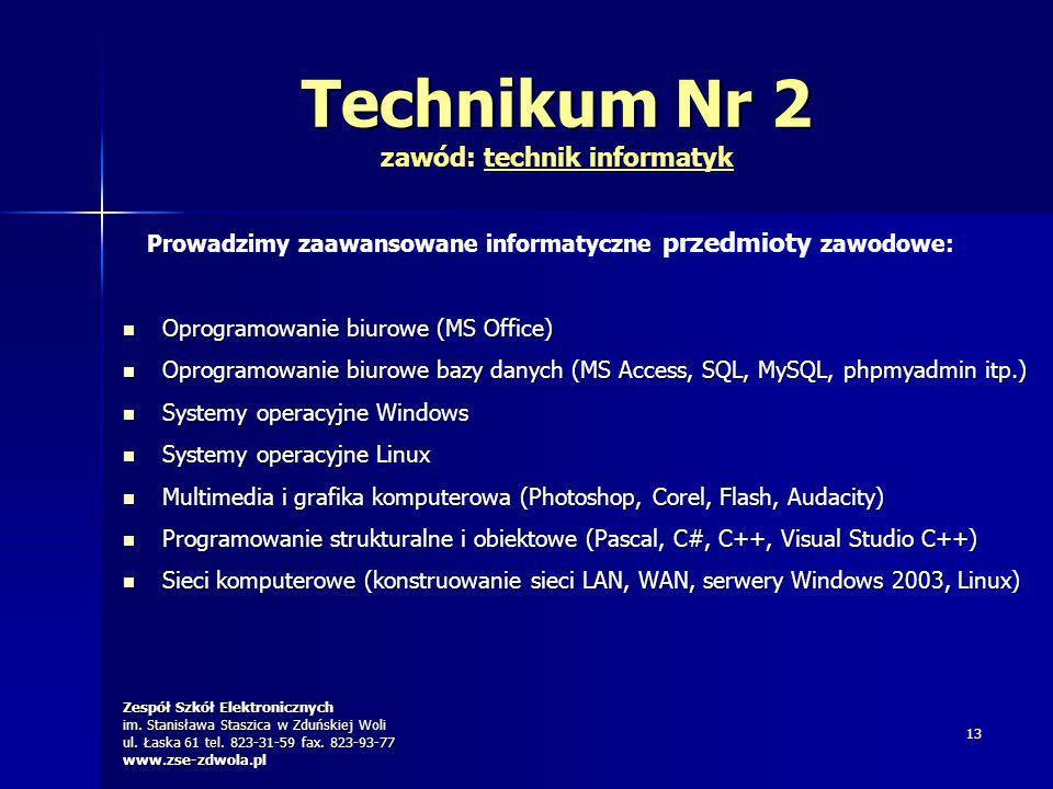 Zespół Szkół Elektronicznych im. Stanisława Staszica w Zduńskiej Woli ul. Łaska 61 tel. 823-31-59 fax. 823-93-77 www.zse-zdwola.pl 13 Technikum Nr 2 z