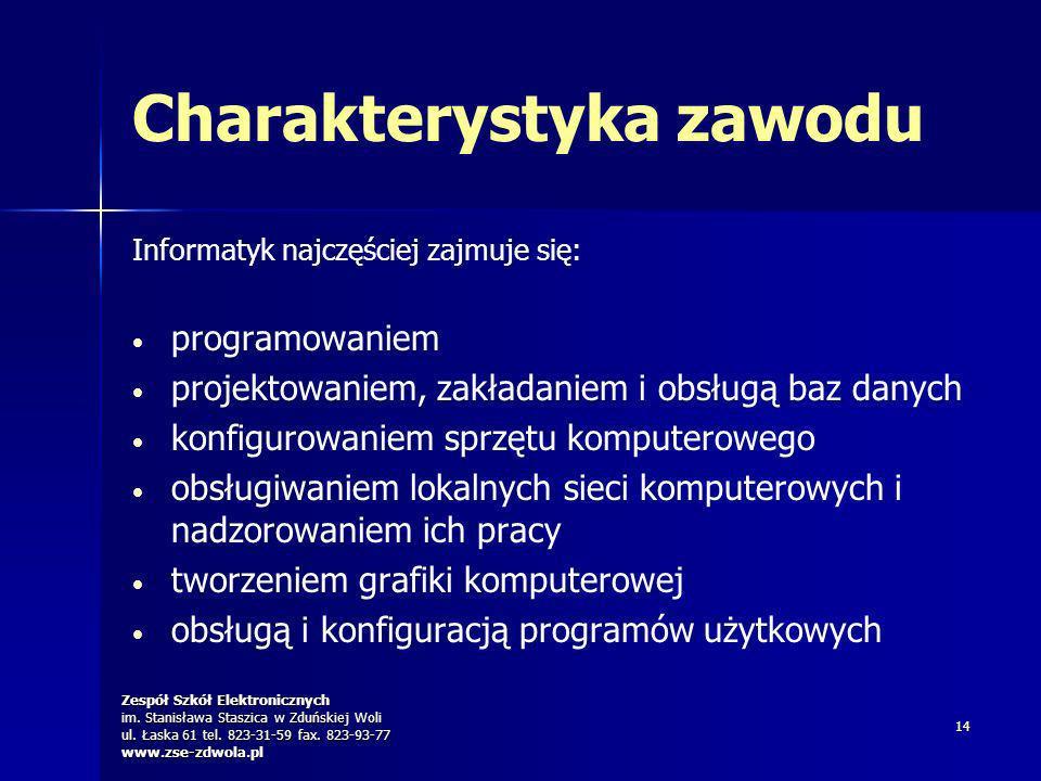Zespół Szkół Elektronicznych im. Stanisława Staszica w Zduńskiej Woli ul. Łaska 61 tel. 823-31-59 fax. 823-93-77 www.zse-zdwola.pl 14 Charakterystyka
