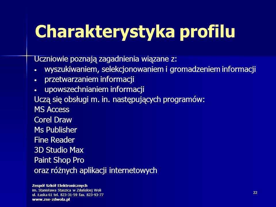 Zespół Szkół Elektronicznych im. Stanisława Staszica w Zduńskiej Woli ul. Łaska 61 tel. 823-31-59 fax. 823-93-77 www.zse-zdwola.pl 22 Charakterystyka