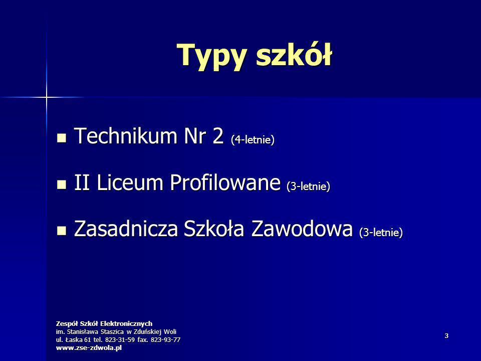 Zespół Szkół Elektronicznych im. Stanisława Staszica w Zduńskiej Woli ul. Łaska 61 tel. 823-31-59 fax. 823-93-77 www.zse-zdwola.pl 33 Typy szkół Techn