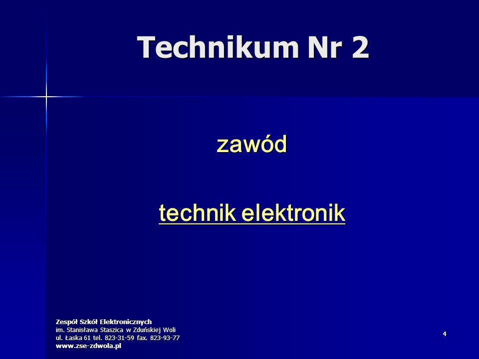 Zespół Szkół Elektronicznych im. Stanisława Staszica w Zduńskiej Woli ul. Łaska 61 tel. 823-31-59 fax. 823-93-77 www.zse-zdwola.pl 44 zawód technik el