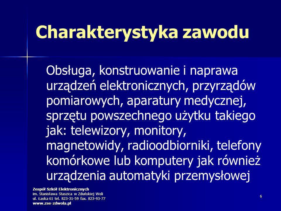 Zespół Szkół Elektronicznych im. Stanisława Staszica w Zduńskiej Woli ul. Łaska 61 tel. 823-31-59 fax. 823-93-77 www.zse-zdwola.pl 6 Charakterystyka z
