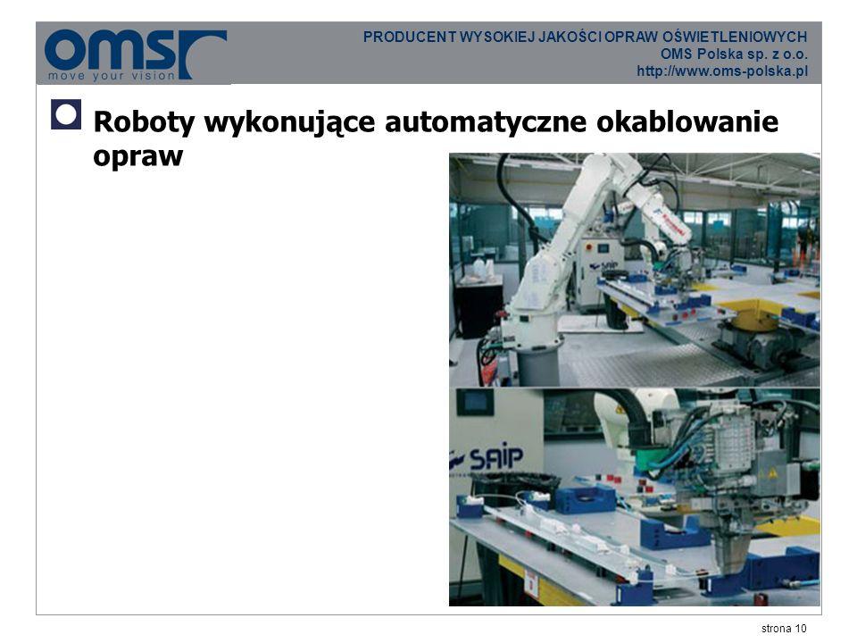 strona 10 PRODUCENT WYSOKIEJ JAKOŚCI OPRAW OŚWIETLENIOWYCH OMS Polska sp.