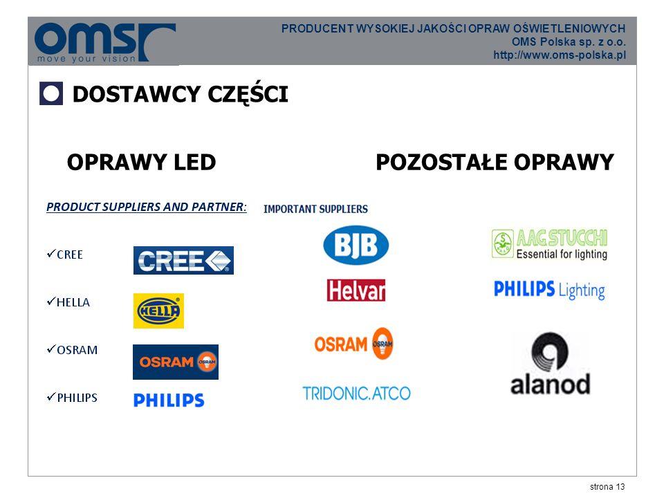 strona 13 PRODUCENT WYSOKIEJ JAKOŚCI OPRAW OŚWIETLENIOWYCH OMS Polska sp.