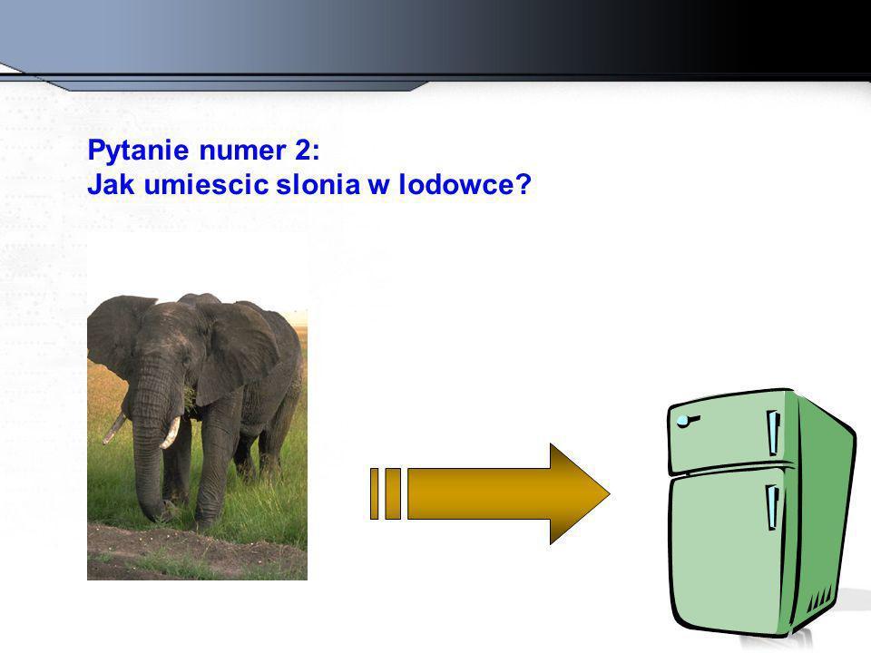 Pytanie numer 2: Jak umiescic slonia w lodowce?