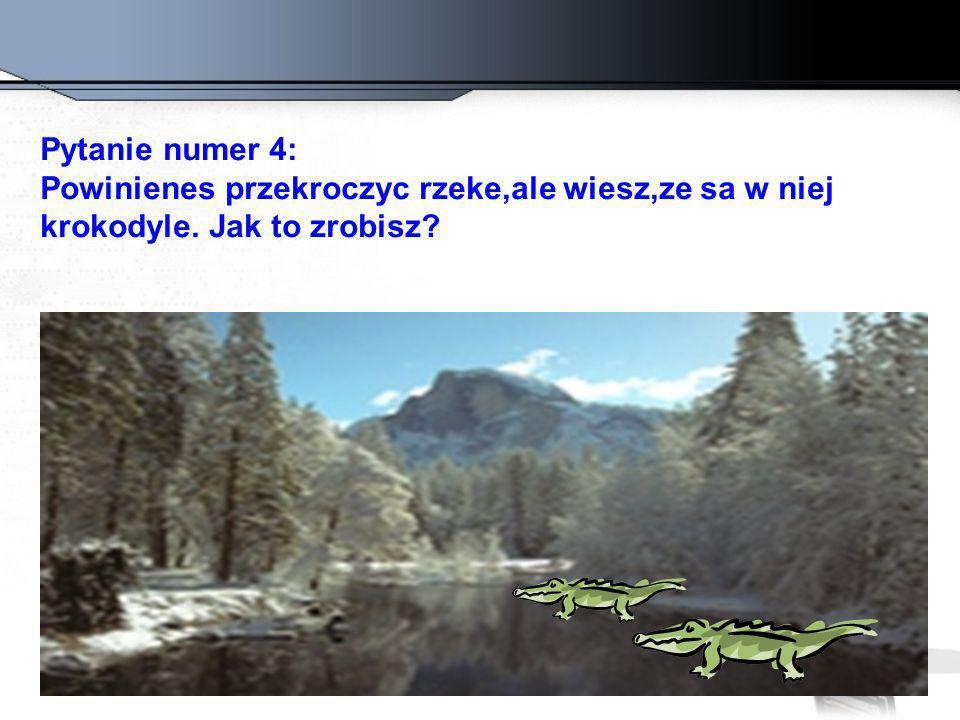 Pytanie numer 4: Powinienes przekroczyc rzeke,ale wiesz,ze sa w niej krokodyle. Jak to zrobisz