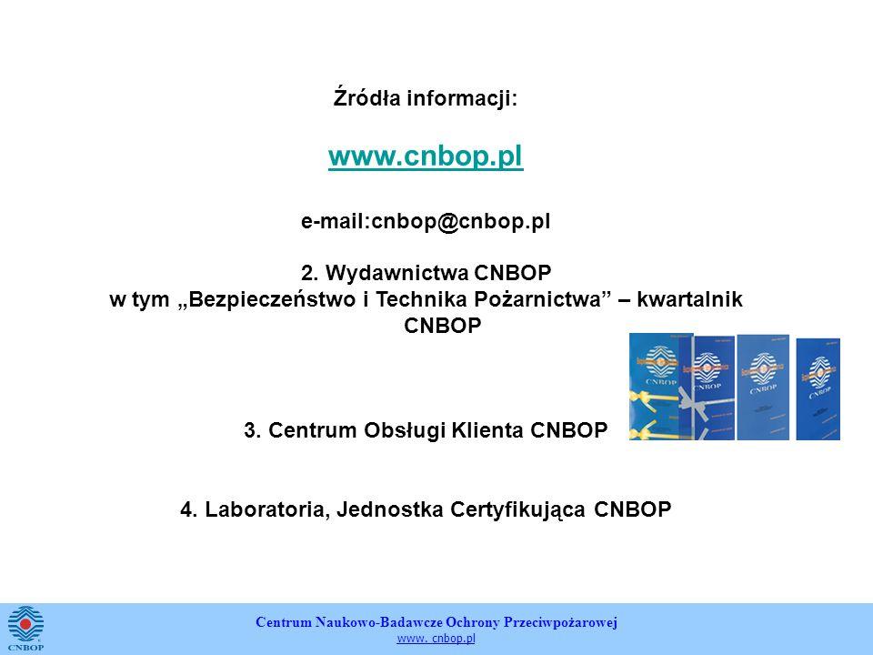 Centrum Naukowo-Badawcze Ochrony Przeciwpożarowej www. cnbop.pl Źródła informacji: www.cnbop.pl e-mail:cnbop@cnbop.pl 2. Wydawnictwa CNBOP w tym Bezpi