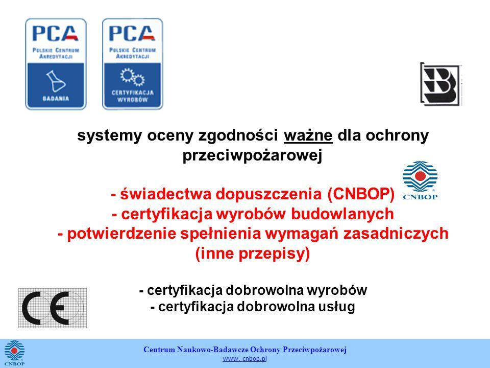 Centrum Naukowo-Badawcze Ochrony Przeciwpożarowej www. cnbop.pl systemy oceny zgodności ważne dla ochrony przeciwpożarowej - świadectwa dopuszczenia (