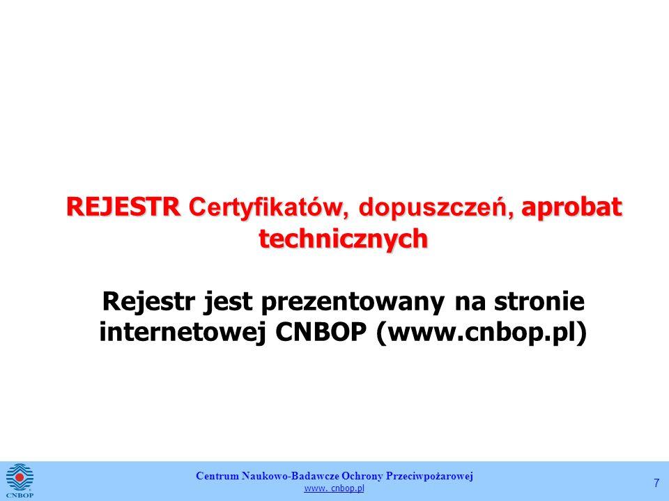 Centrum Naukowo-Badawcze Ochrony Przeciwpożarowej www. cnbop.pl 7 REJESTR Certyfikatów, dopuszczeń, aprobat technicznych REJESTR Certyfikatów, dopuszc