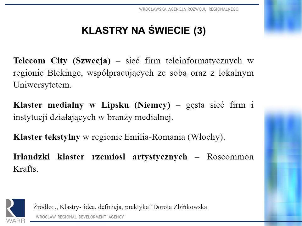WROCŁAWSKA AGENCJA ROZWOJU REGIONALNEGO WROCLAW REGIONAL DEVELOPMENT AGENCY KLASTRY NA ŚWIECIE (3) Telecom City (Szwecja) – sieć firm teleinformatyczn
