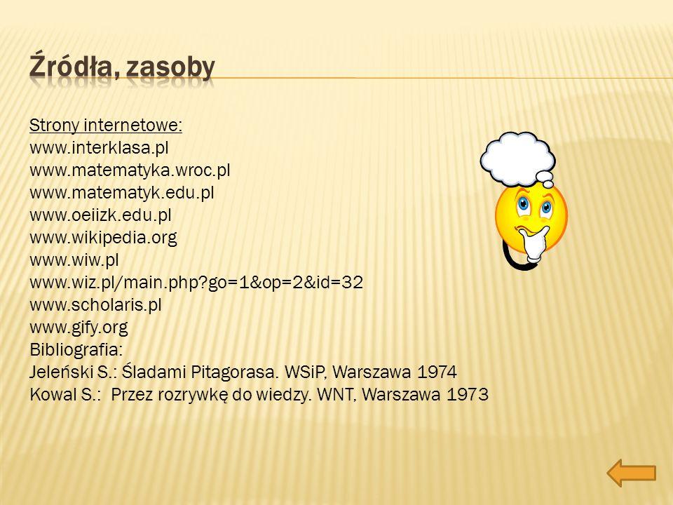Strony internetowe: www.interklasa.pl www.matematyka.wroc.pl www.matematyk.edu.pl www.oeiizk.edu.pl www.wikipedia.org www.wiw.pl www.wiz.pl/main.php?g